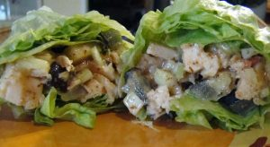 Almond Chicken Lettuce Wraps - Gluten free chicken salad wrap with the crunch of apple #recipe #glutenfree #cleaneating