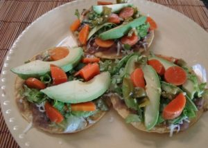 Veggie Tostadas with Avocado, Bean, and Pickled Carrots
