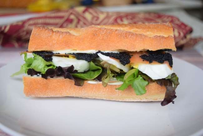 Danish sandwich - Smoked Salmon, Egg and Caviar sandwich