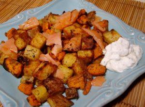 Smoked Salmon with sweet potato and red skin potato hash