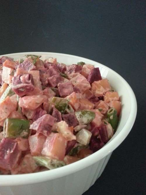Russian Salad (Potatoes, Beets, Carrots, and Peas)