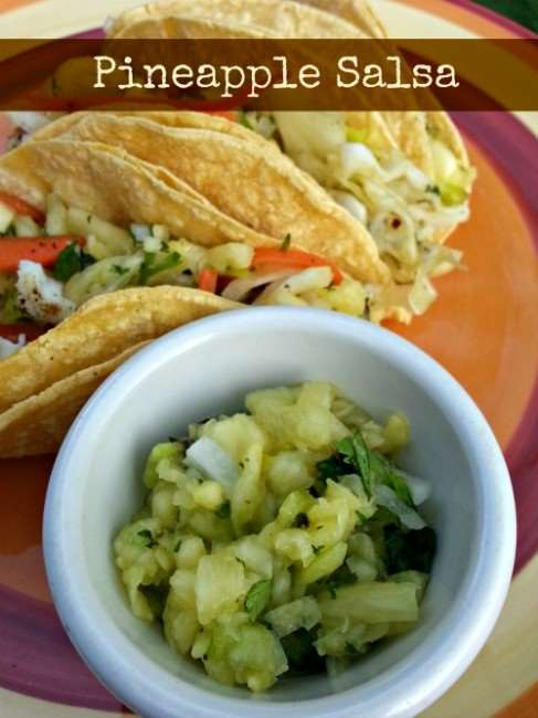 Pineapple salsa - condiment with chips, tacos, and more.