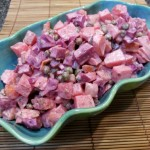 Russian Salad - A tasty side dish featuring potatoes, beets, carrots, and peas.