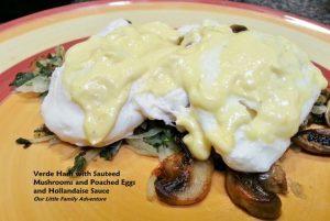 Potato & Kale Hash with Sauteed Mushrooms, Poached Eggs, and Hollandaise Sauce