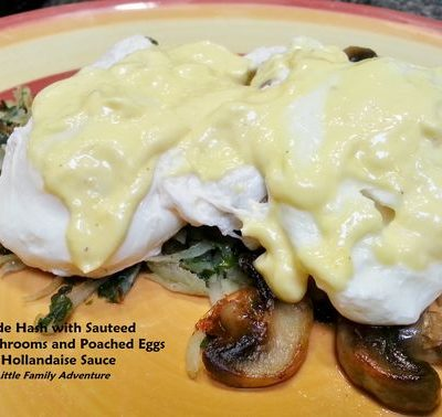 Verde (Potato & Kale) Hash with Sauteed Mushrooms, Poached Eggs, and Hollandaise Sauce