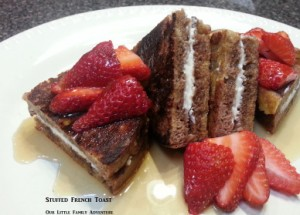 Stuffed French Toast - An quick and easy breakfast. No refined sugars, yet sweet from berries and maple syrup. THe kids will love this delicious breakfast.