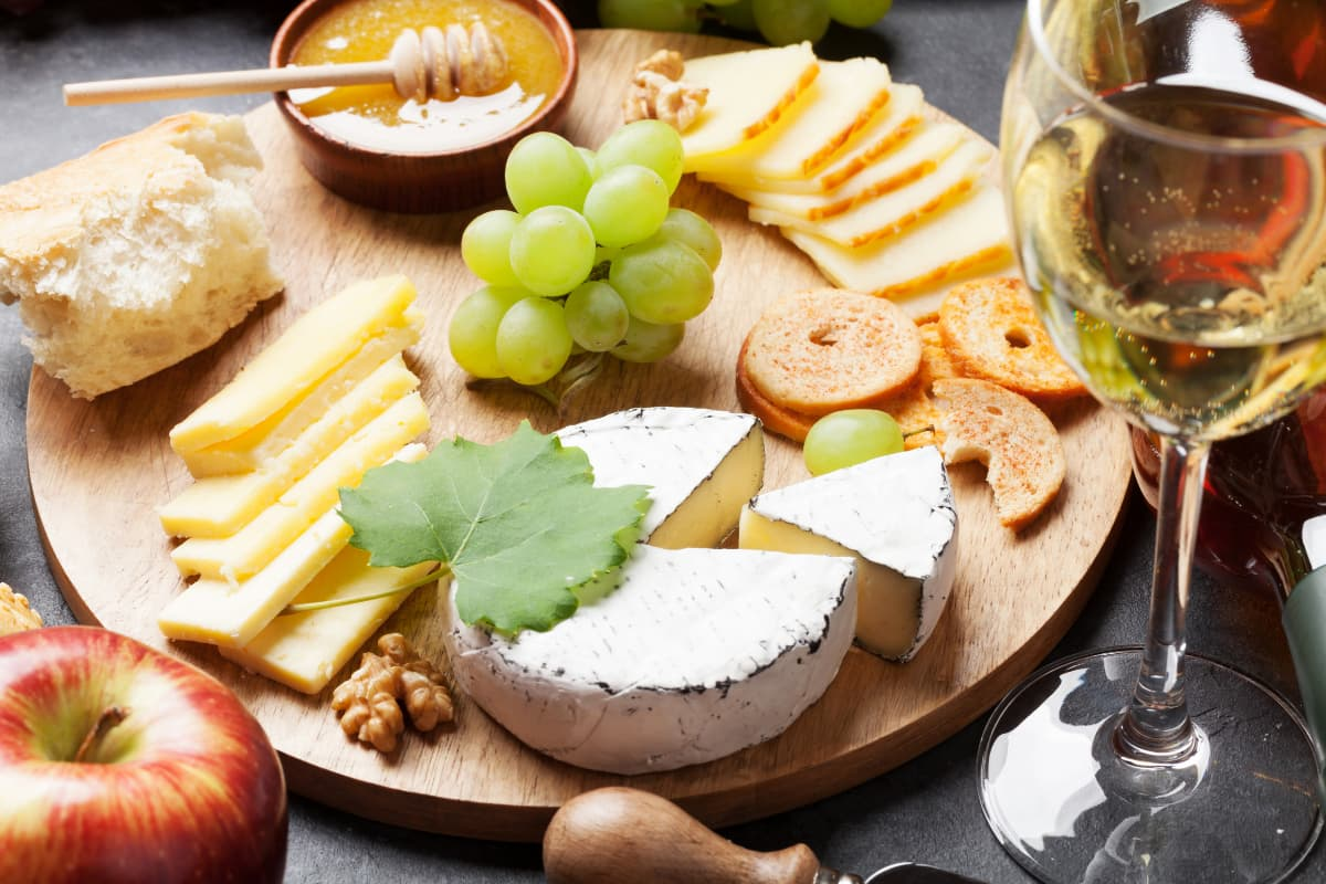 cheeseboard with white wine