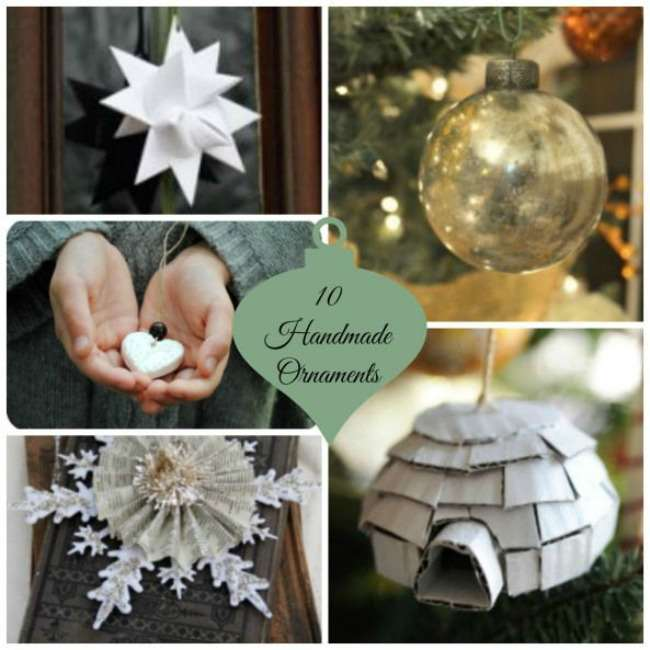 10 homemade Christmas ornaments for you to make at home. Easy and simple for all ages.
