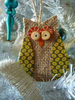 Burlap Owl Christmas Ornament - 10 Homemade Christmas Ornaments