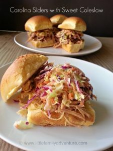 Carolina Pork Sliders with Sweet Coleslaw #southern #recipe #pork #appetizer #pubfood #yum