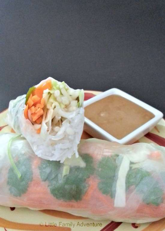 Vietnamese Fresh Spring Rolls with Thai Peanut Dipping Sauce- Loaded with fresh vegetables and herbs, these rolls and healthy and delicious. They make an easy appetizer or light meal. #healthy #recipe #realfood @lilfamadventure