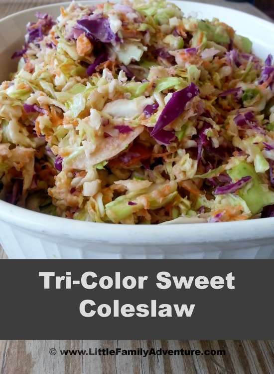 Tri-Color Sweet Coleslaw - A quick and easy side dish that pars well with so many dishes. This healthy dish is perfect for BBQ, potlucks, and picnics. #recipe