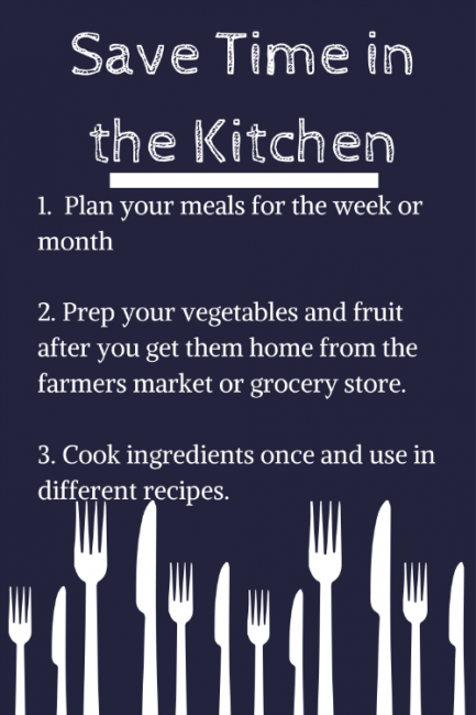 Save Time in the Kitchen - meal planning, prep ahead, make once for multiple meals