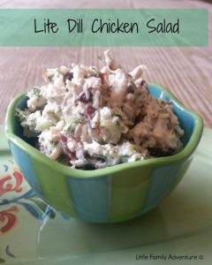 Quick and easy chicken salad; healthier lite version with mayo, yogurt, dill & dried cherries