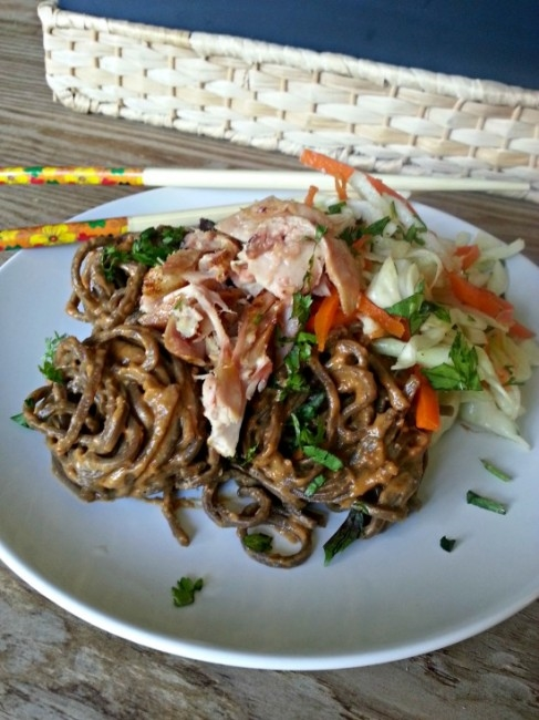 Chicken and Peanut Noodle - A cold salad featuring soba noodles in peanut sauce, shredded chicken, and light napa cabbage slaw. Health recipe that's quick and easy!