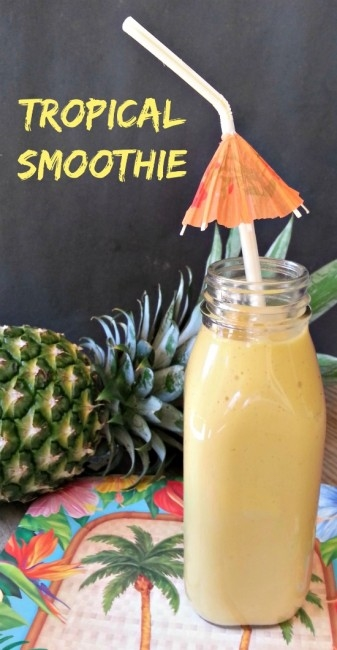 Tropical Smoothie - Great fruit filled smoothie perfect for breakfast or a snack. Dairy free, vegan, and healthy