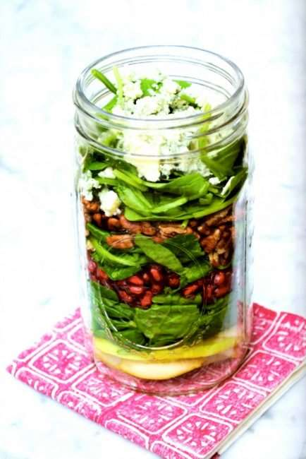 Pomegranate and Pear Salad in a mason jar