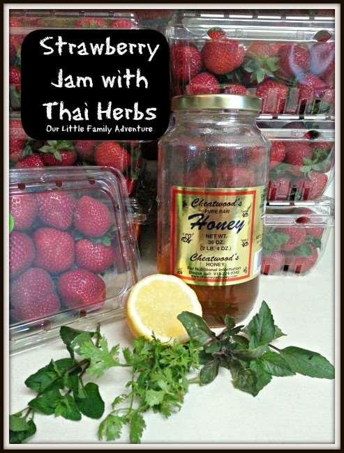 Strawberry jam with thai herbs