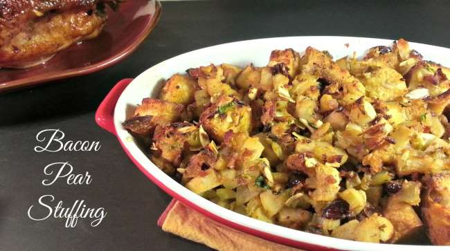 Bacon Pear Stuffing | Little Family Adventure | A tasty dressing for your Thanksgiving meal or alongside ham, pork, and chicken.