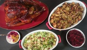 Thanksgiving Dinner with Maple Glazed Turkey, Whiskey Maple Gravy, Bacon Pear STuffing, Brussels Sprouts Salad, Tie Dye Mash, and Cranberry Relish