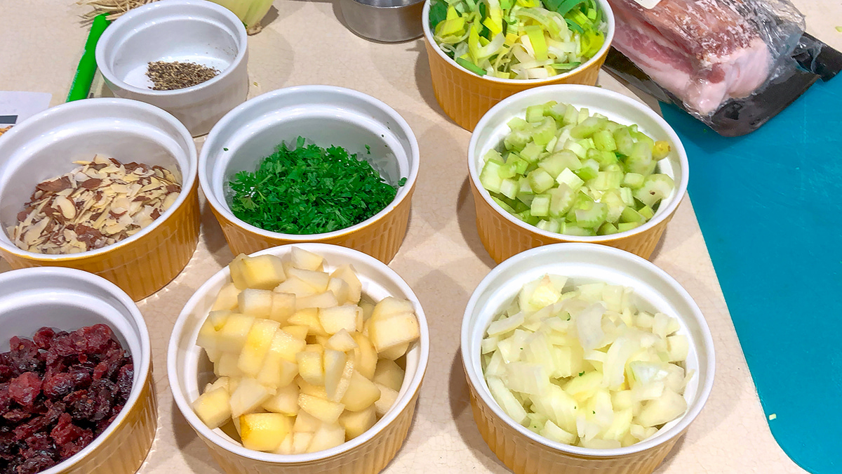 chopped vegetables in bowls