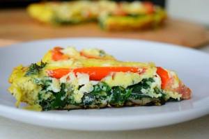 Farmer's Strata with kale, tomato, and feta | Quick and easy clean eating meal, real food, breakfast, brunch, dinner