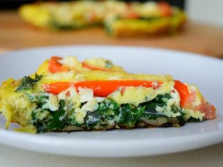 Farmer's Strata with Kale, Tomato, Mushrooms, and Feta
