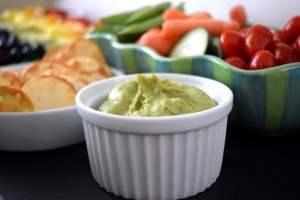 Healthy St. Patrick's Day Snacks for Kids - Cilantro Hummus with Pita Crackers & Fresh Veggies