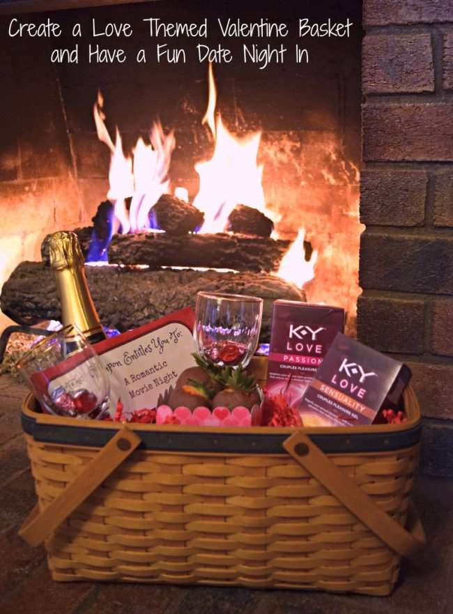 Create a Love Themed Valentine Basket and Have a Fun Date Night In