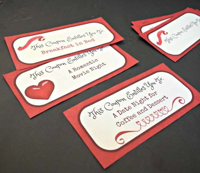 Create a Love Themed Valentine Basket and Have a Fun Date Night In - Valentine Love Coupons