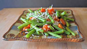 Roasted Green Beans and Tomatoes with Parmesan - Healthy Easter Dinner on a Budget - Create a Healthy meal for 12 for under $6 pp with ALDI