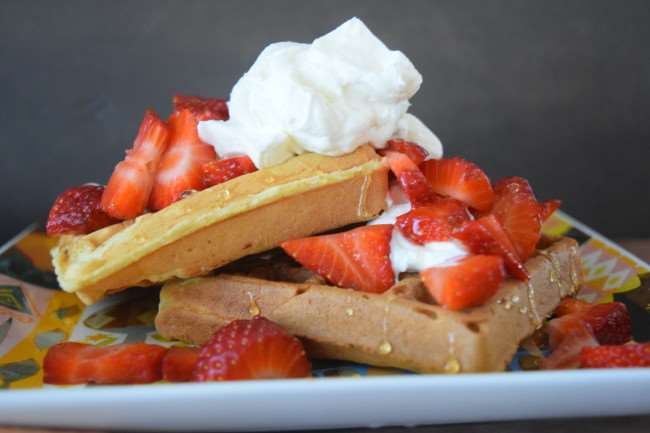Strawberry Shortcake Waffles using Disney Mickey Waffle recipe with no refined sugar