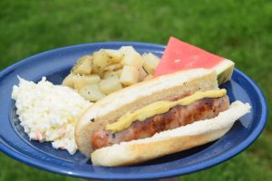 Grilled Brats, slaw, & potatoes | Camping Food: Meal Plan, Recipes, & Tips for a Weekend Campout | Everything you need to cook great food on your next campout; menu, printable grocery list, recipes, etc.