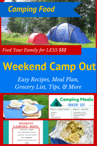 Everything you need to feed your family for less $$$ on a camping trip - Easy recipes that the kids will LOVE, a meal plan to get you organized, and a printable grocery list. Great for a weekend campout #campfood #camprecipes