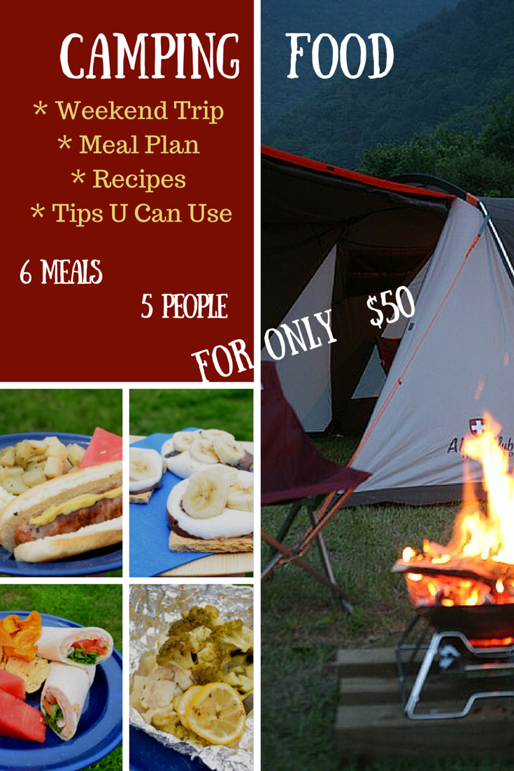 Camping Food Meal Plan, Camping Recipes, and Camping Tips - All you need for a weekend trip for 5 people $50 with ALDIUSA
