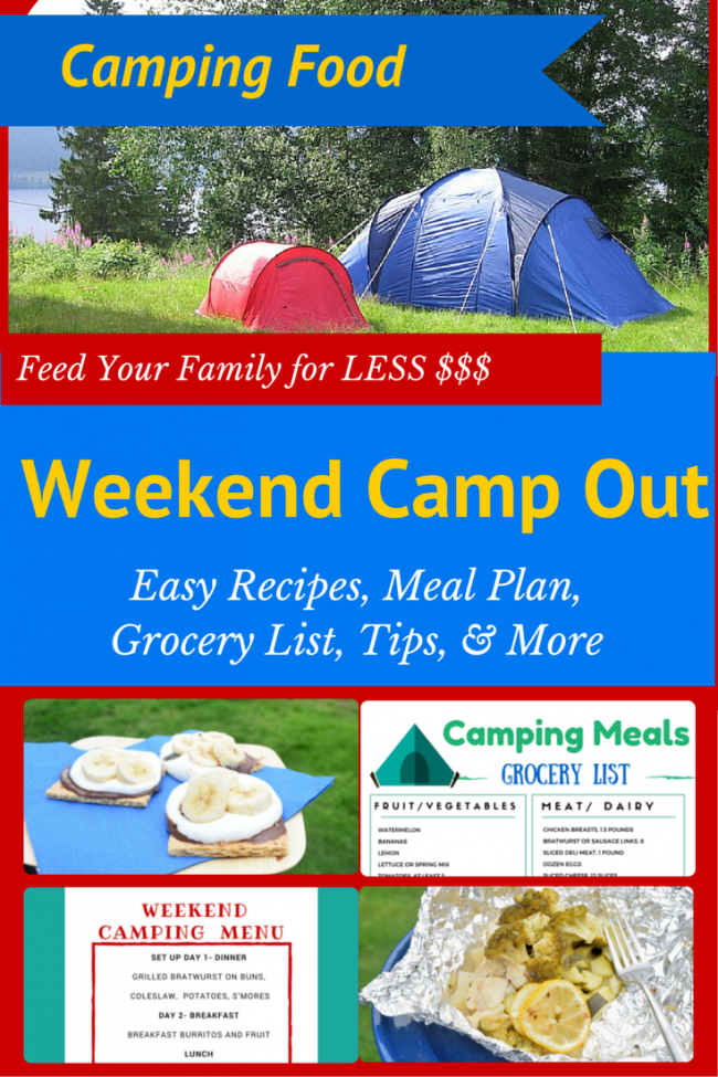picture regarding Camping Food List Printable named Weekend Tenting Evening meal Software Recipes: 4-5 These for Just $50