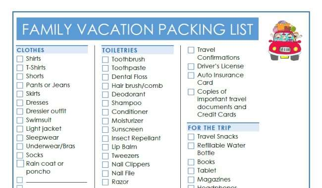 Family Vacation Essentials 10 Tips Printable Vacation Packing List