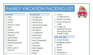 Family Vacation Essentials Packing List