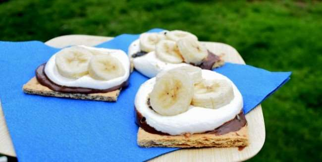 Hazelnut Banana S'mores - Camping Food - A must have for any camping trip