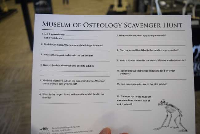 Museum of Osteology Scavenger Hunt