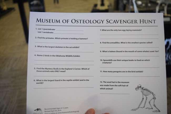 Museum of Osteology Scavenger Hunt