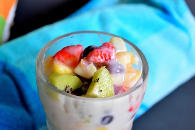 Creamy Summer Fruit Salad made with fresh fruit and Yoplait Yogurt #sponsored #ad
