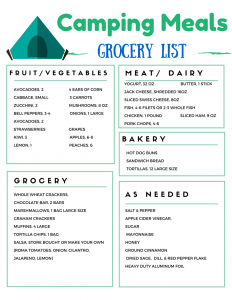 Another Camping Meal Plan - Camping Grocery List for meals for 3 days