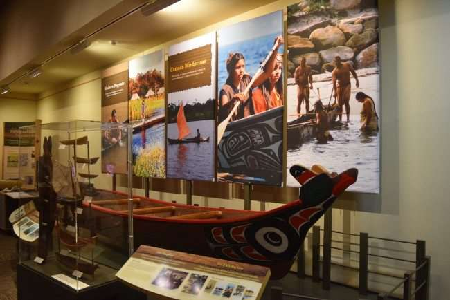 Chikasha Poya Exhibit on a traditional wooden canoe