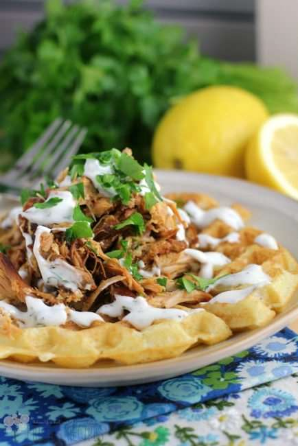 Honey Sriracha Pulled Chicken and Waffles - Summer Clean Eating Meal Plan