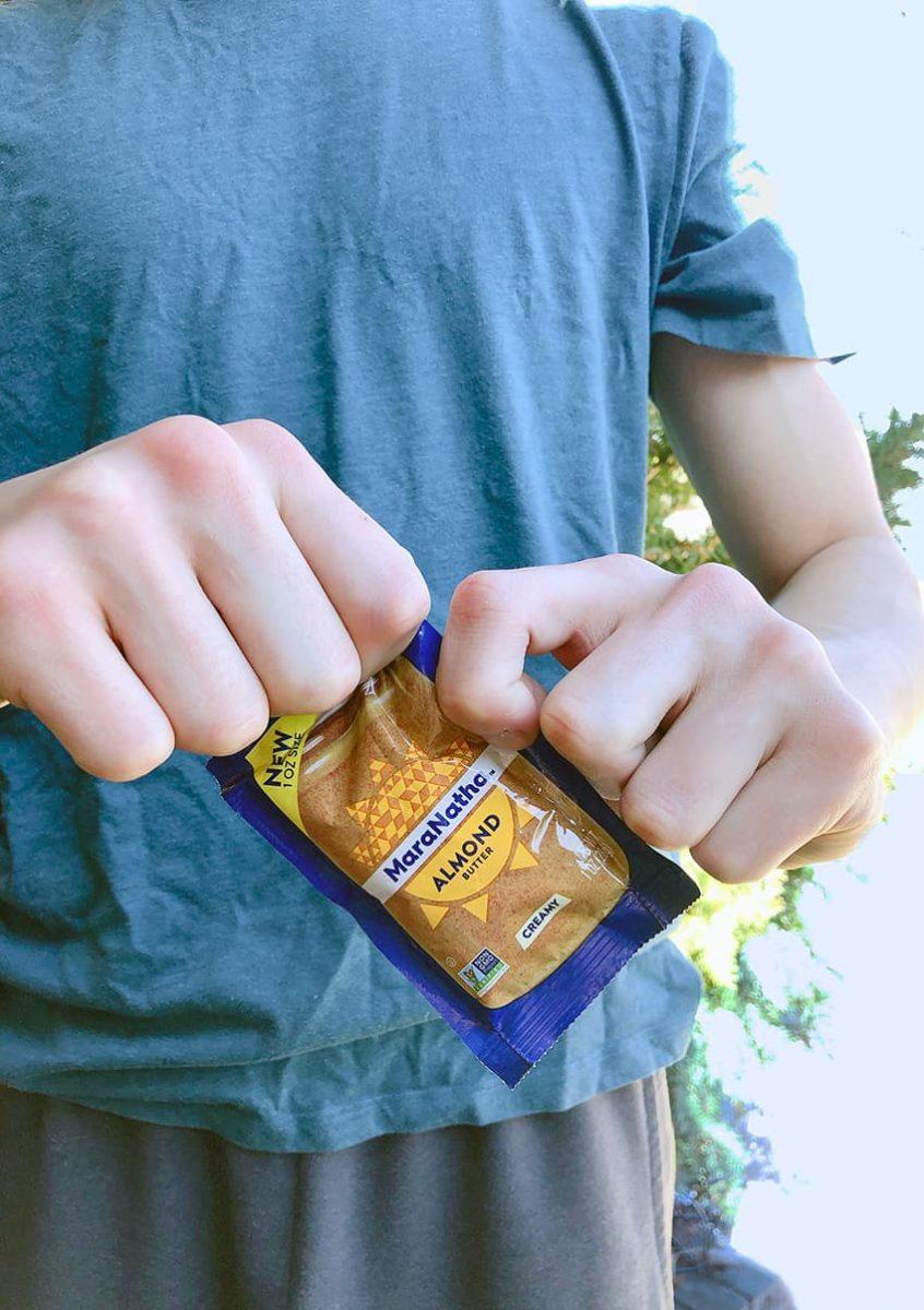 Tearing open nut butter