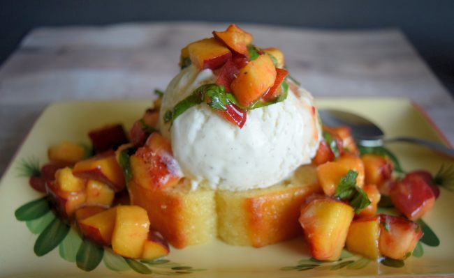 Pound Cake and Peaches Sundae