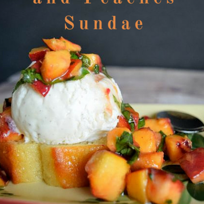 Bryers Pound Cake and Peaches Sundae