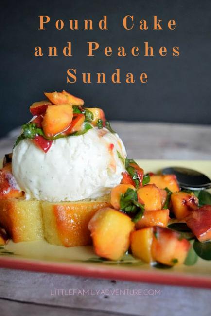 Bryers Pound Cake and Peaches Sundae