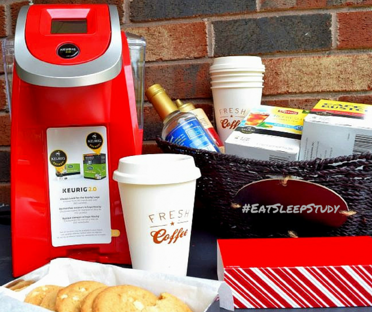 #EatSleepStudy College Care Package | Create a care package that they will love filled with supplies to create a custom dorm coffee bar featuring the Keurig K200 #WhatsBrewingOnCampus #ad